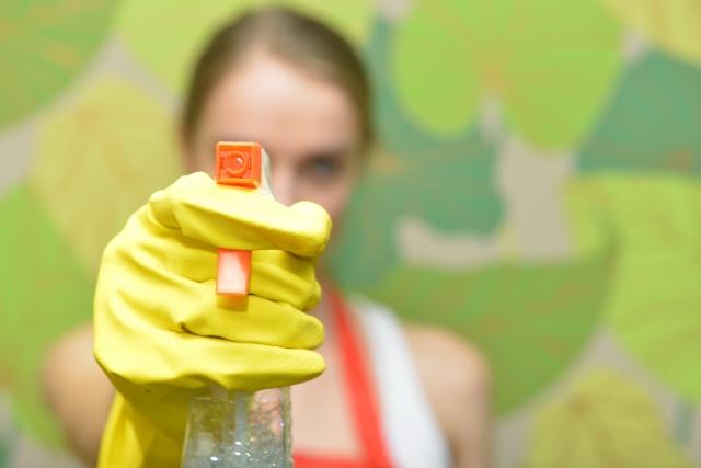 エタノールを霧吹きに入れ掃除をする女性